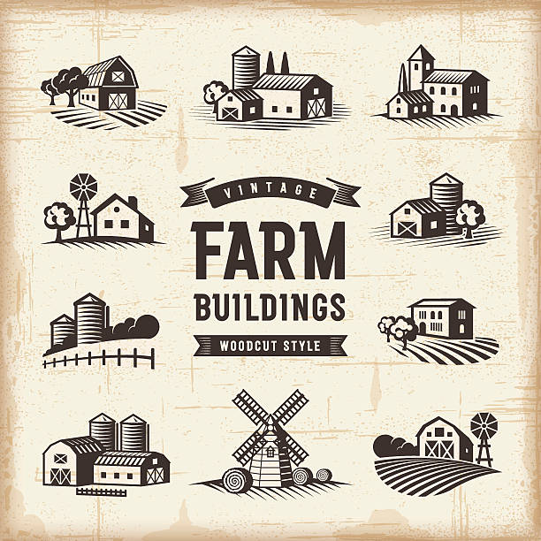 vintage farm buildings set - 농장 stock illustrations
