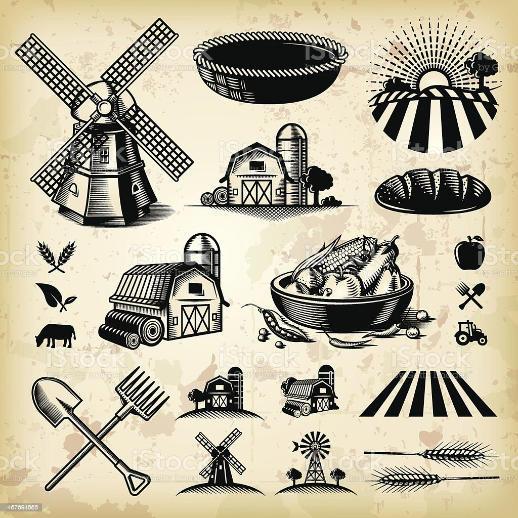 Vintage Farm Illustrations vector art illustration