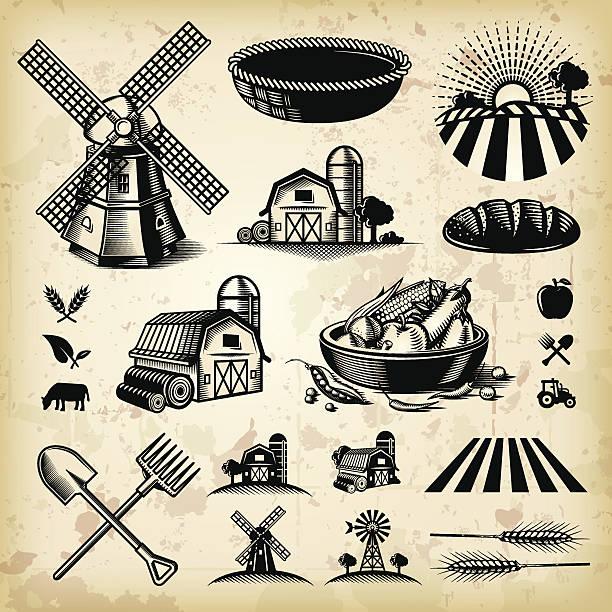Vintage Farm Illustrations vector art illustration