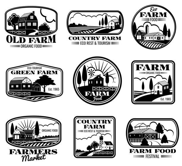 Vintage farm marketing vector icons and labels set Vintage farm marketing vector icons and labels set. Eco farm and country farm production illustration farmer's market stock illustrations