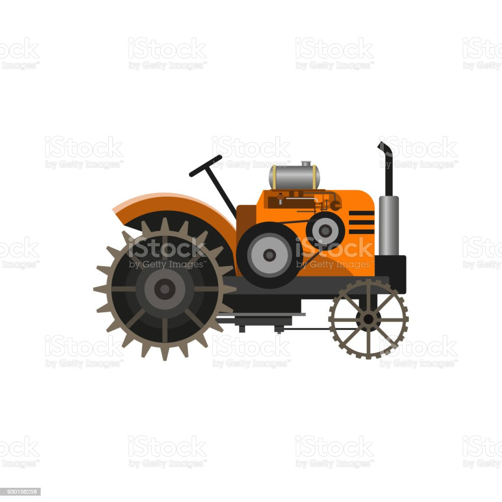 Vintage farm tractor, vector art illustration