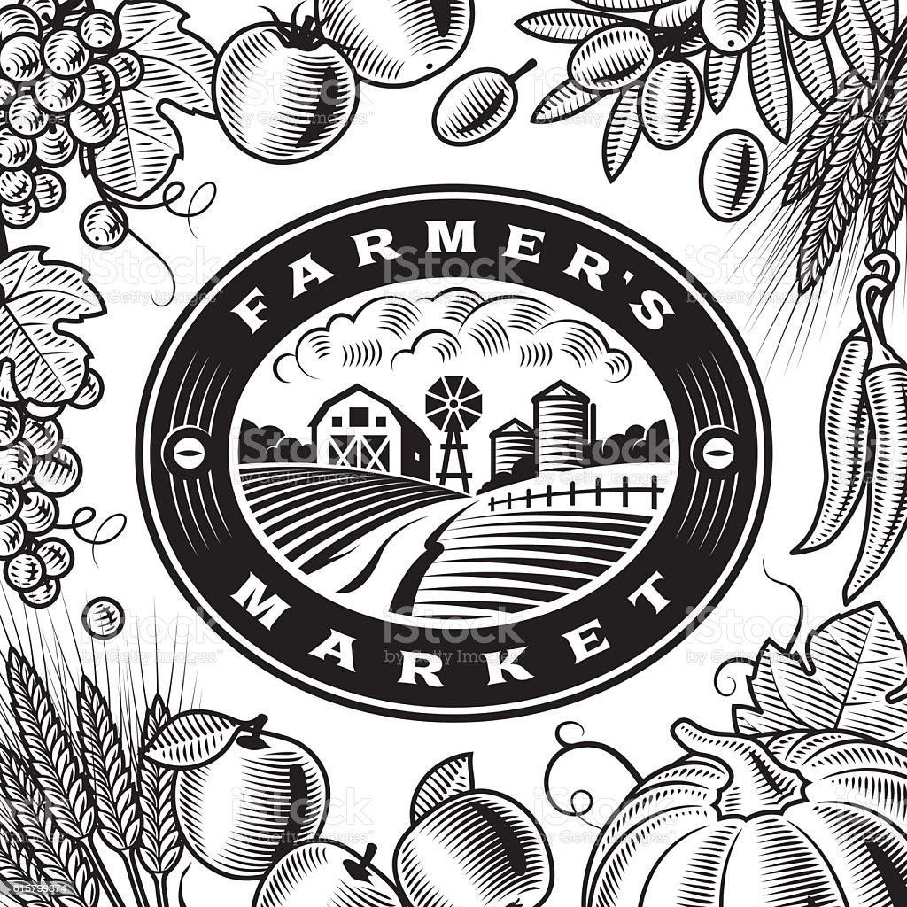 Vintage Farmers Market Label Black And White Stock