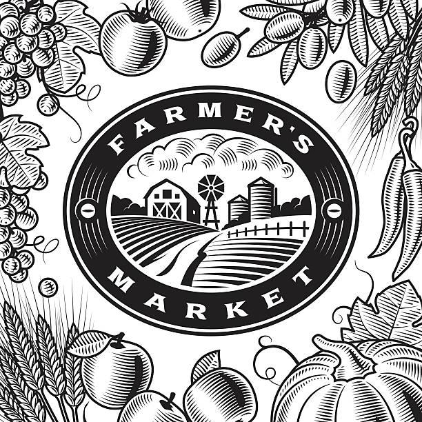 vintage farmers market label black and white - herbstgemüseanbau stock-grafiken, -clipart, -cartoons und -symbole