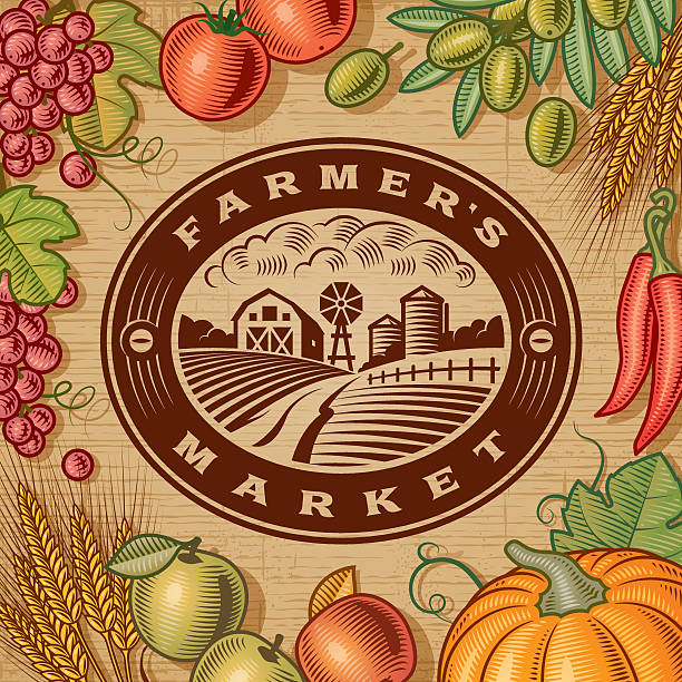 Vintage Farmer's Market Label Vintage Farmer's Market label with fruits and vegetables in woodcut style. EPS10 editable vector illustration with clipping mask and transparency. Includes high resolution JPG. farmer's market stock illustrations