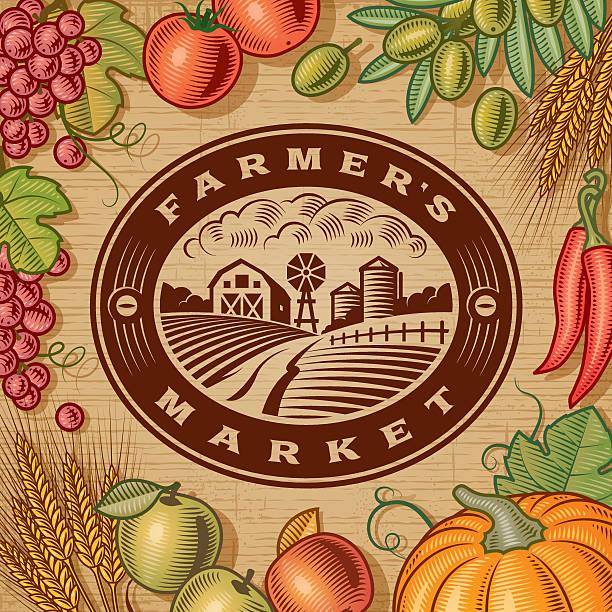 vintage farmer's market label - herbstgemüseanbau stock-grafiken, -clipart, -cartoons und -symbole