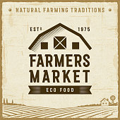 Vintage farmers market label in retro woodcut style. Editable EPS10 vector illustration with clipping mask and transparency.