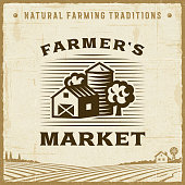 Vintage farmer's market label in retro woodcut style. Editable EPS10 vector illustration with clipping mask and transparency.