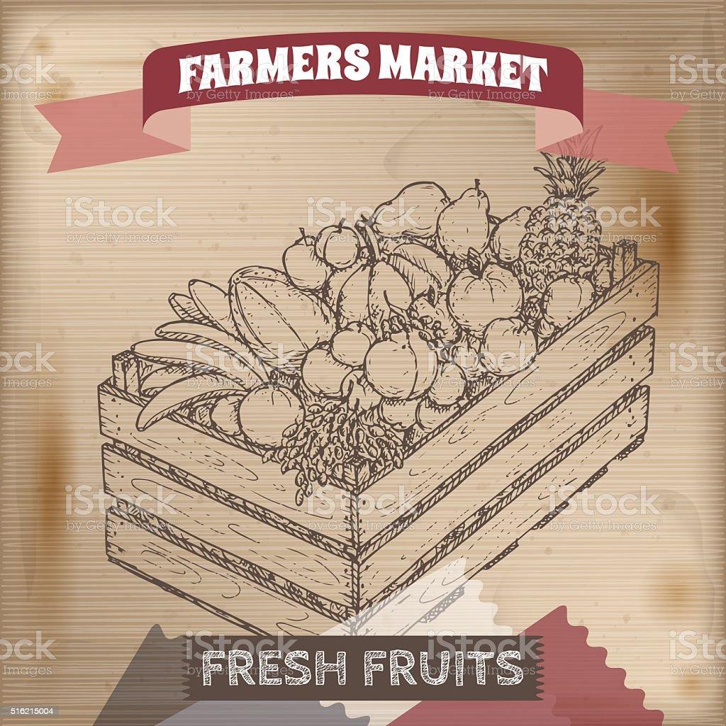 Mercado de agricultores de rótulos Vintage com frutas na caixa de madeira. - ilustração de arte em vetor