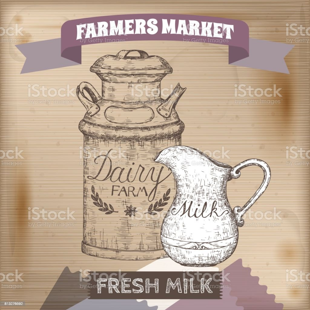 Vintage farmers market label with metal milk can and pitcher. vector art illustration