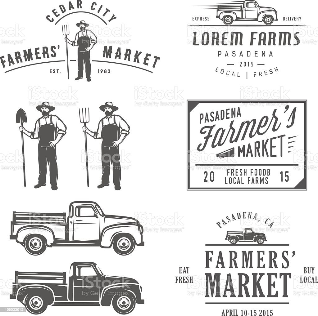Vintage farming labels, badges and design elements vector art illustration
