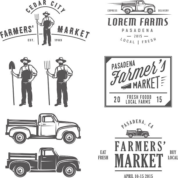Vintage farming labels, badges and design elements Vintage farming labels, badges and design elements. farmer's market stock illustrations