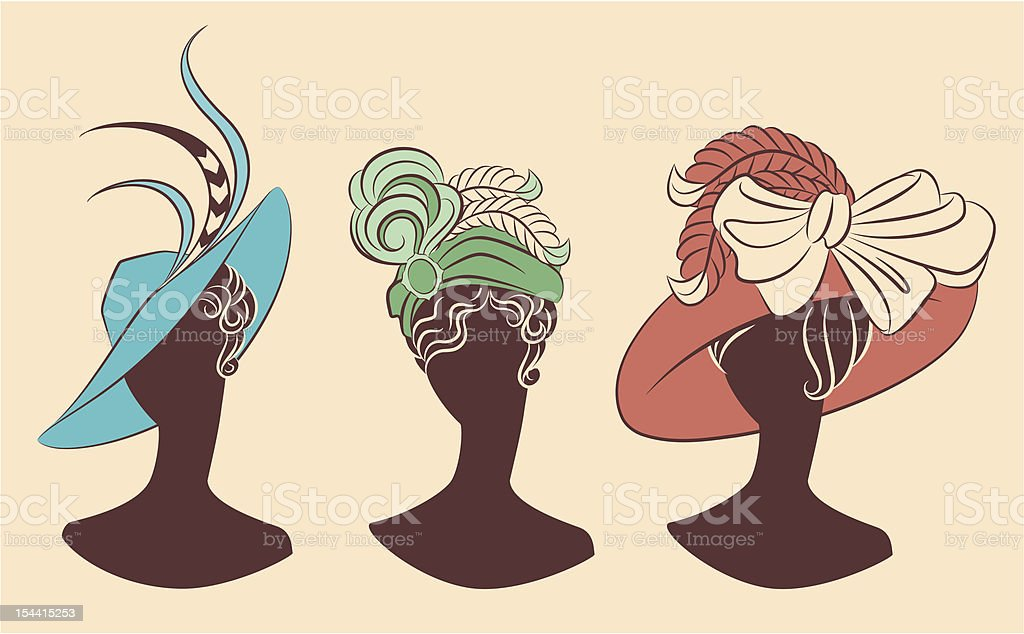 Vintage fashion girl in hat. Vector set vector art illustration