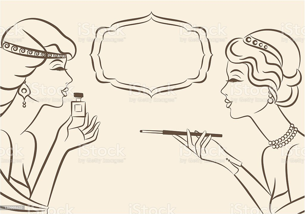 Vintage fashion girl with cannon-bit and perfume. Vector royalty-free vintage fashion girl with cannonbit and perfume vector stock vector art & more images of 1920-1929