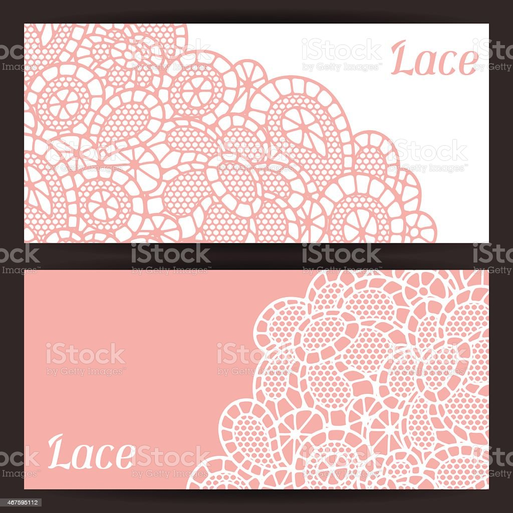 Vintage fashion lace banners with abstract flowers vector art illustration