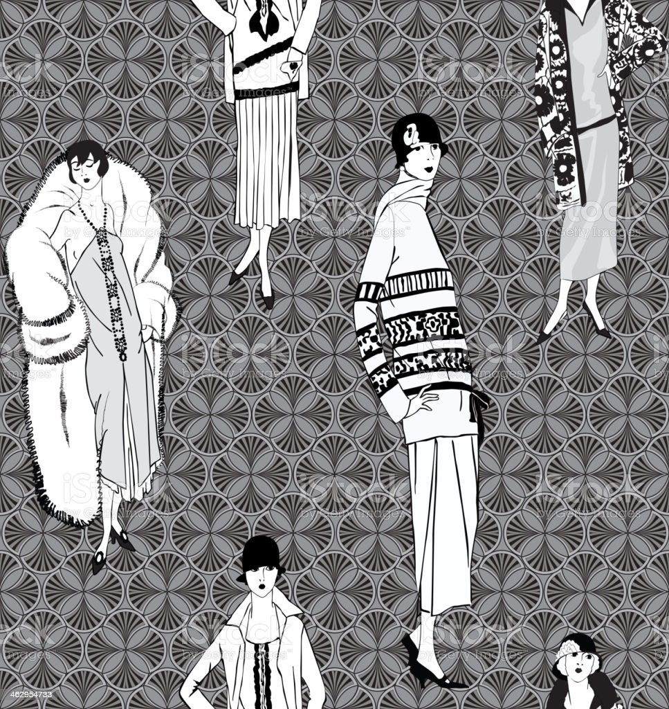 Vintage Fashion Tileable Wallpaper Royalty Free Stock Vector Art Amp