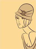 Vintage fashion woman. Vector