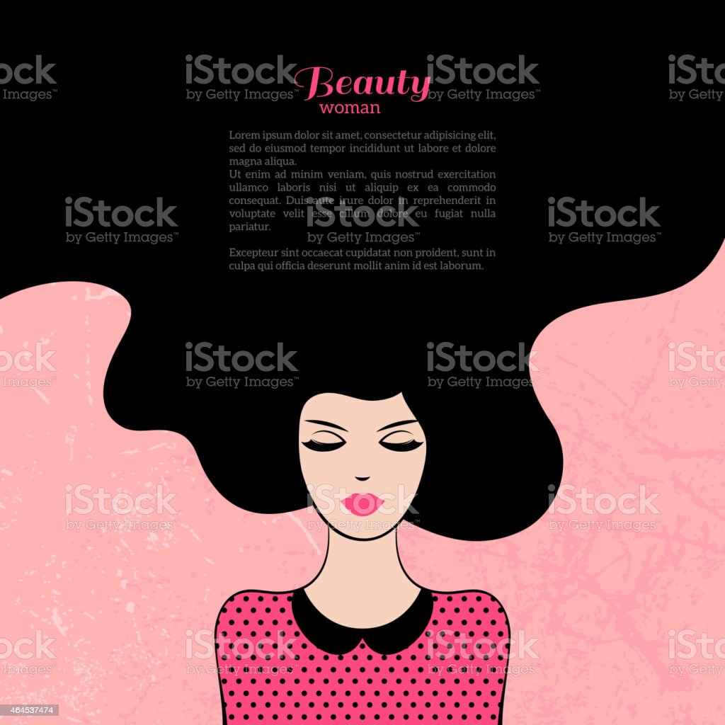 Vintage Fashion Woman with Long Hair. vector art illustration