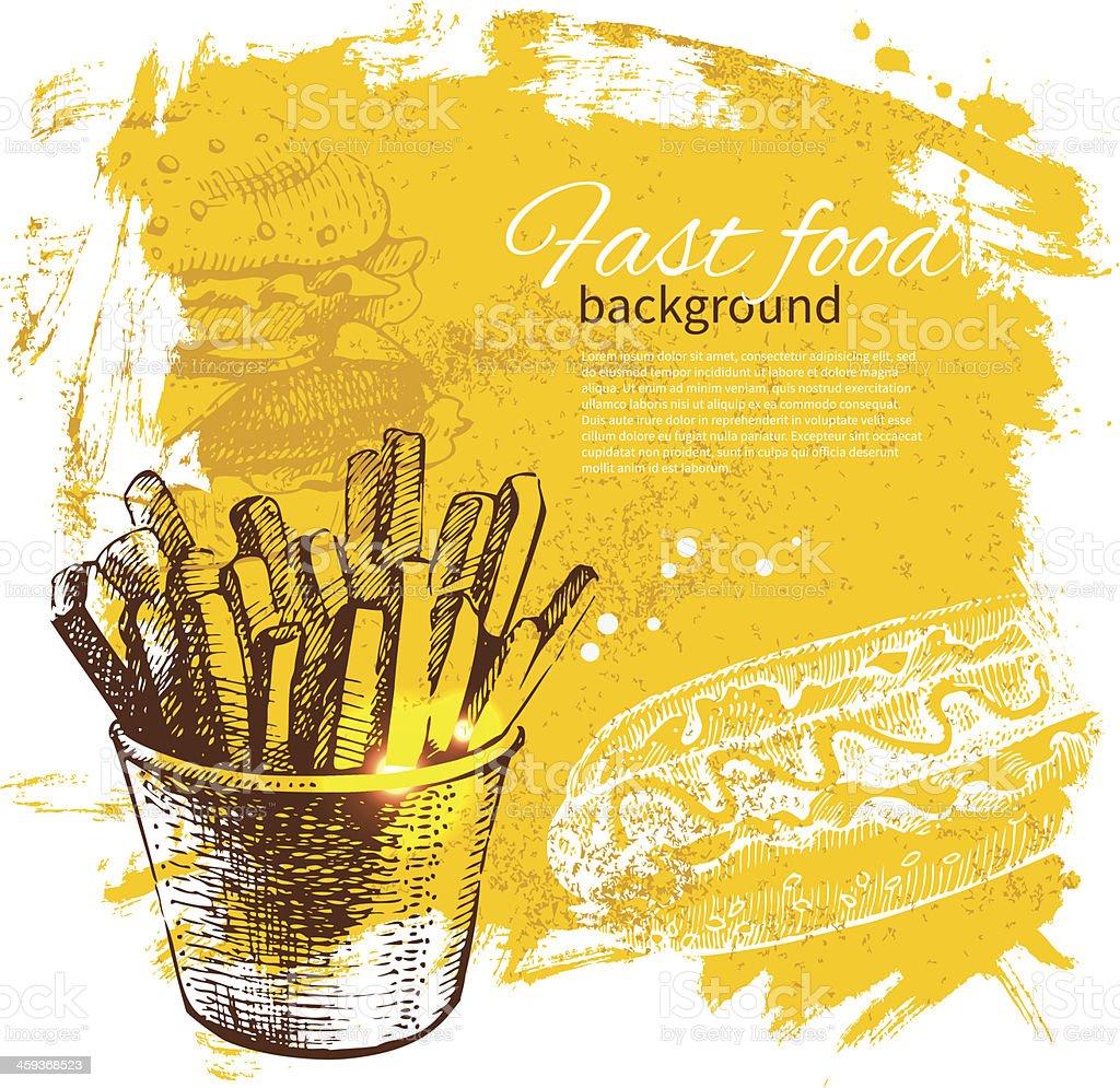 Vintage fundo de fast food - ilustração de arte em vetor