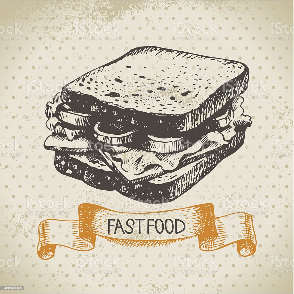 Vintage fast food background vector art illustration