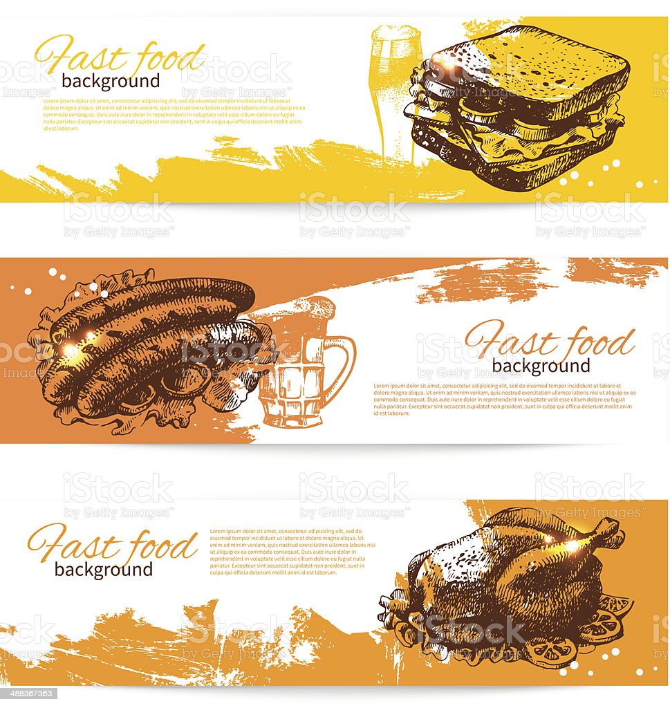 Vintage fast food banners royalty-free stock vector art