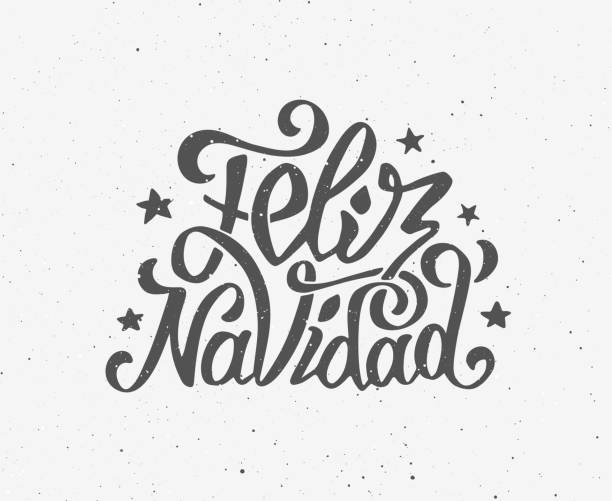 Vintage Feliz Navidad typographic vector poster Vintage Feliz navidad greeting card with hand-drawn typography on white grunge paper texture. Merry Christmas greetings in spanish language. Retro letterpress poster for Christmas. Vector background navidad stock illustrations