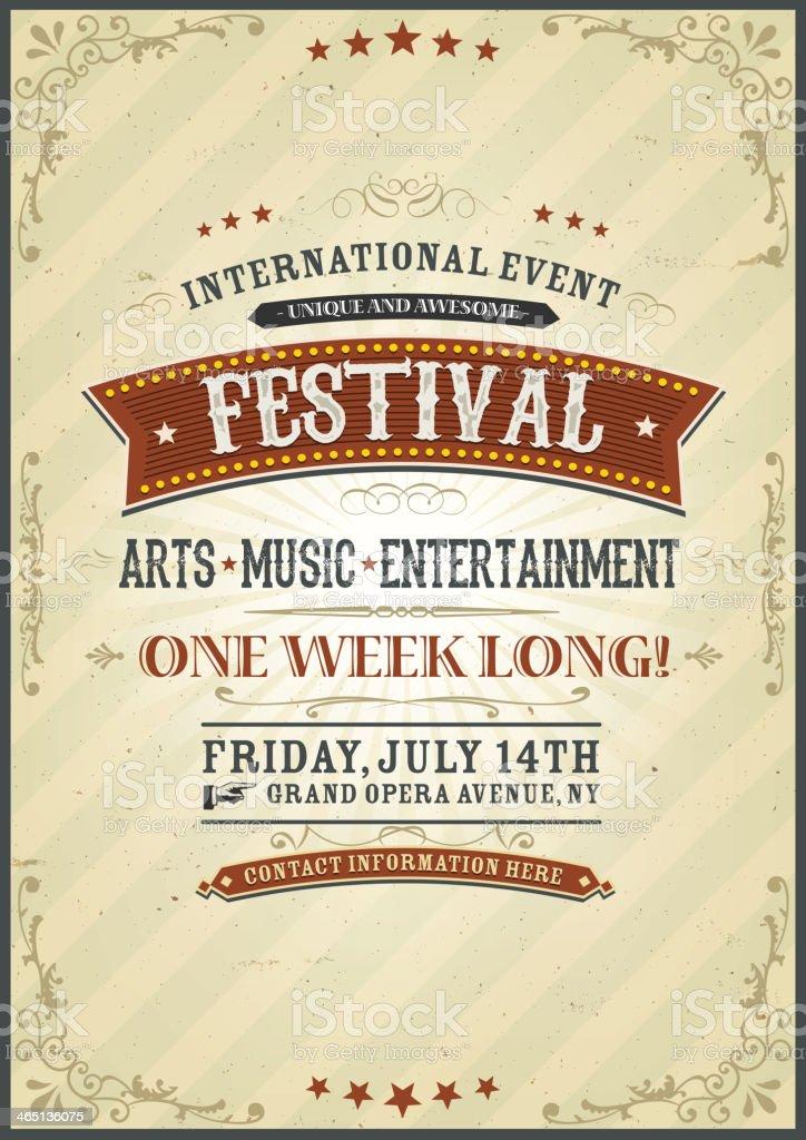 Vintage Festival Poster vector art illustration