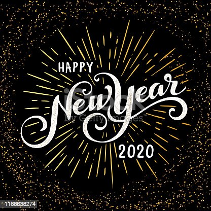 Happy 2020 New Year Greeting Card. Holiday Vector Illustration With Lettering Composition And Burst. Vintage festive label