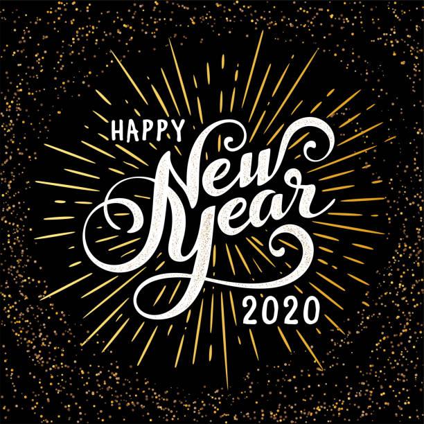 ilustraciones, imágenes clip art, dibujos animados e iconos de stock de etiqueta festiva vintage con ráfaga - víspera de año nuevo