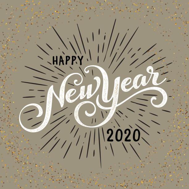 ilustraciones, imágenes clip art, dibujos animados e iconos de stock de etiqueta festiva vintage con ráfaga - año nuevo