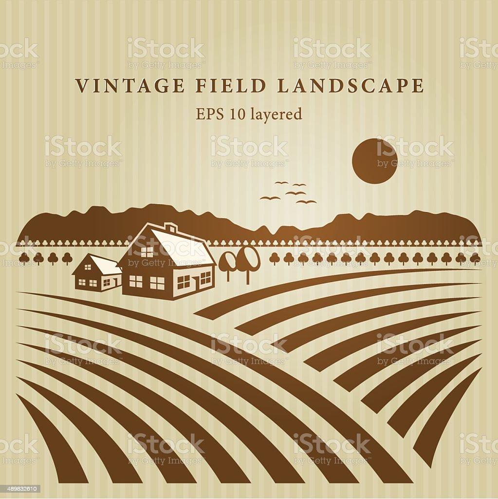 Vintage field landscape vector art illustration