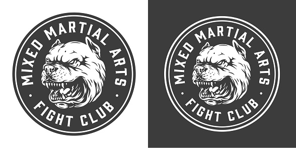 Vintage fight club monochrome round label