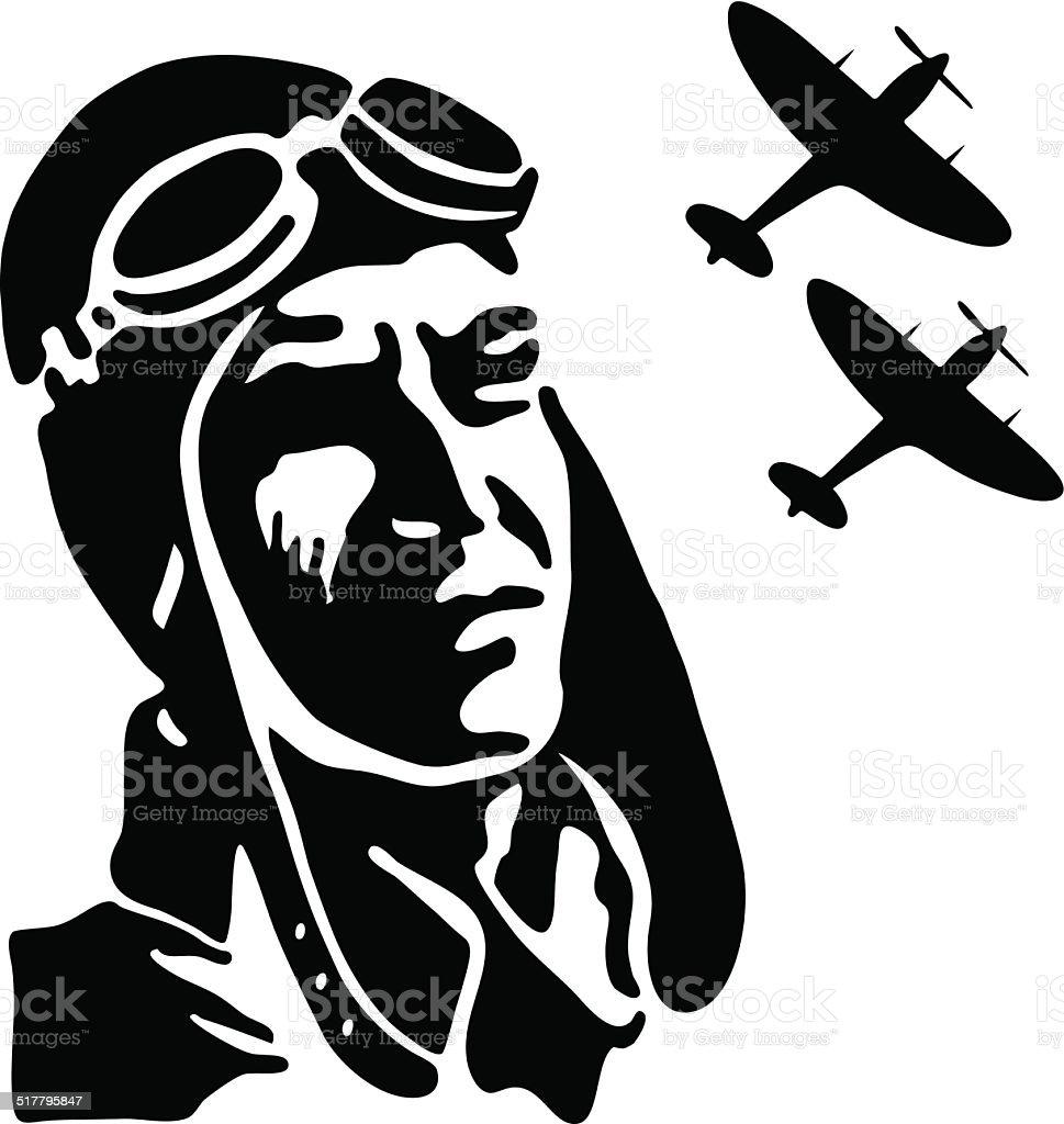 Vintage fighter pilot vector art illustration