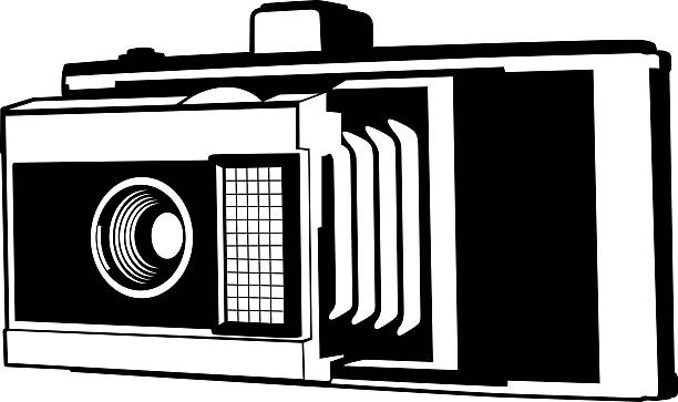 vintage film-kamera-illustration - mittelformatkamera stock-grafiken, -clipart, -cartoons und -symbole
