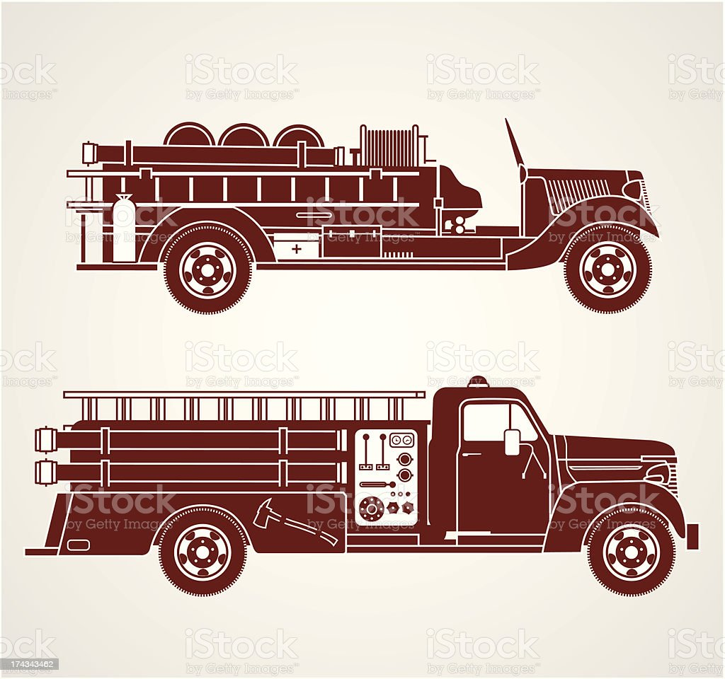 Vintage Fire Trucks royalty-free vintage fire trucks stock vector art & more images of accidents and disasters