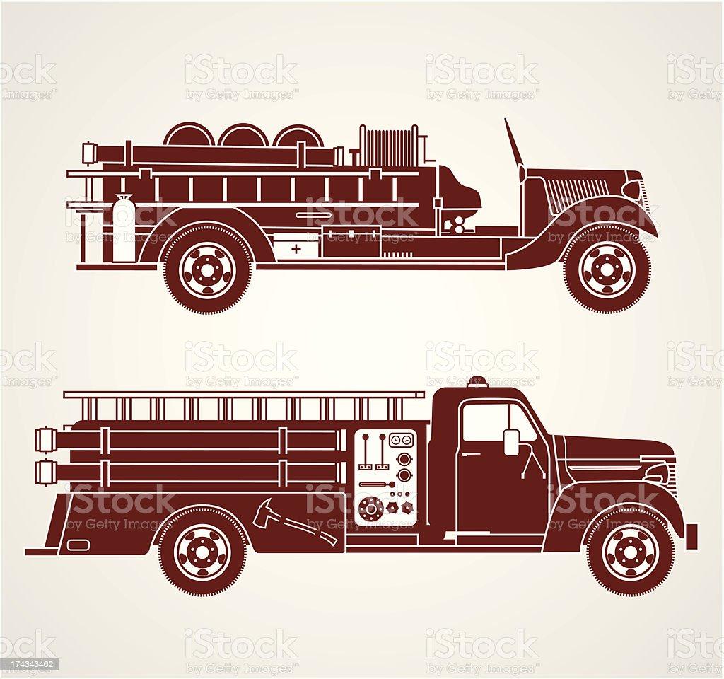 Vintage Fire Trucks vector art illustration