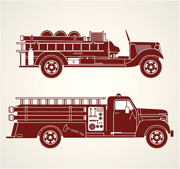 Vintage Fire Trucks Side view line art of two retro/vintage style fire trucks fire engine stock illustrations