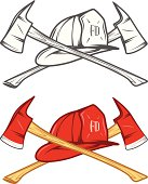 Vintage firefighter helm with crossed axes