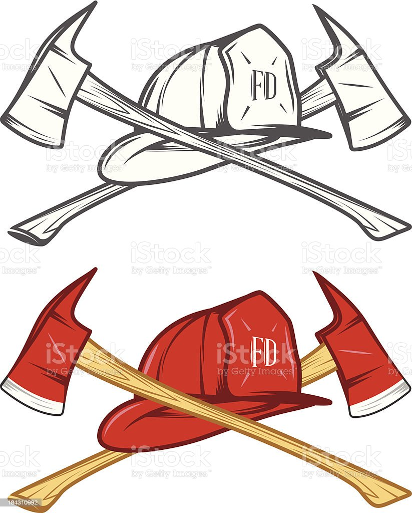Vintage firefighter helm with crossed axes vector art illustration
