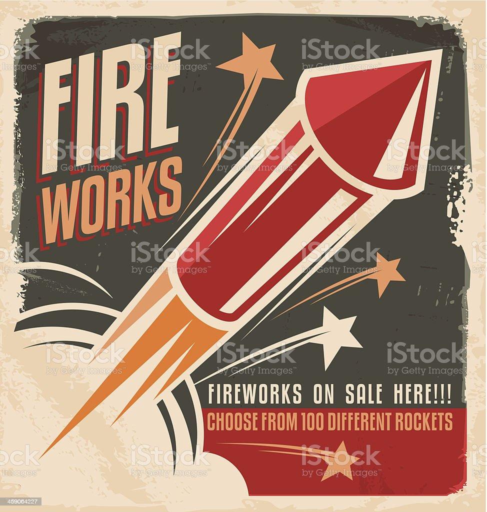 Vintage fireworks poster design vector art illustration