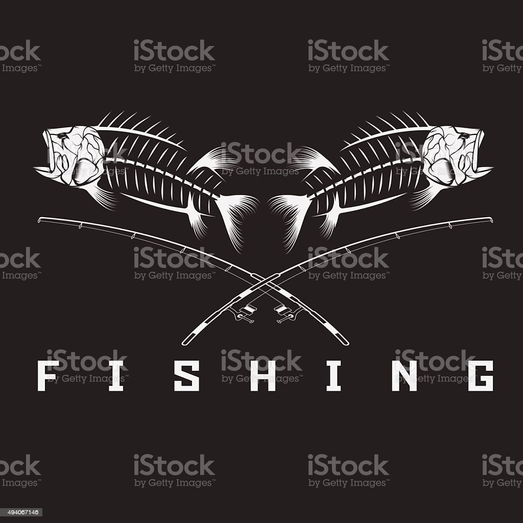 vintage fishing emblem with skeleton of bass vector art illustration