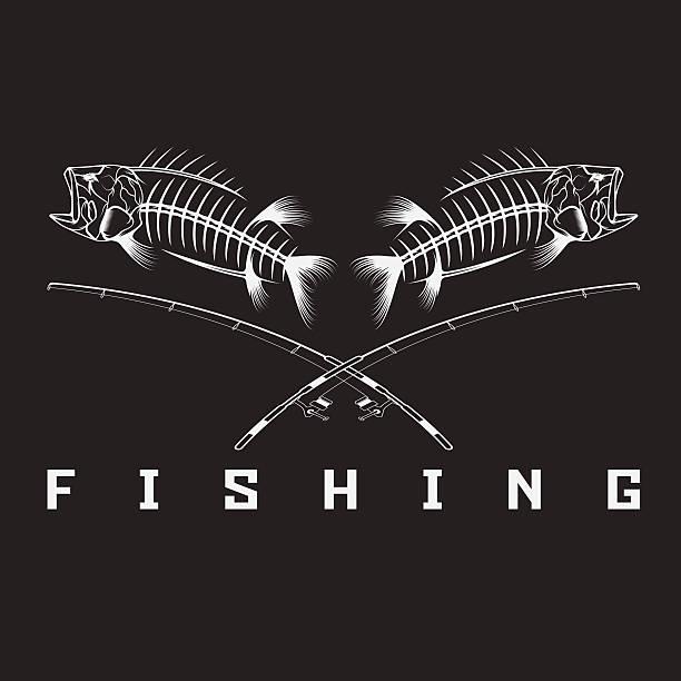 vintage fishing emblem with skeleton of bass - animal bone stock illustrations
