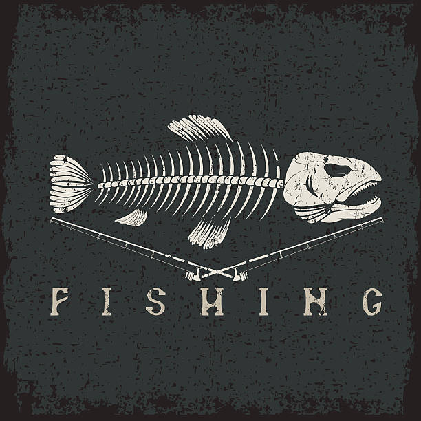 vintage fishing grunge emblem with skeleton of trout - fish skeleton stock illustrations, clip art, cartoons, & icons