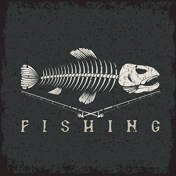 vintage fishing grunge emblem with skeleton of trout vector art illustration