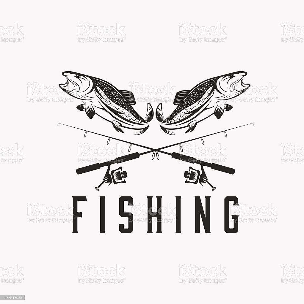 vintage fishing vector design template vector art illustration