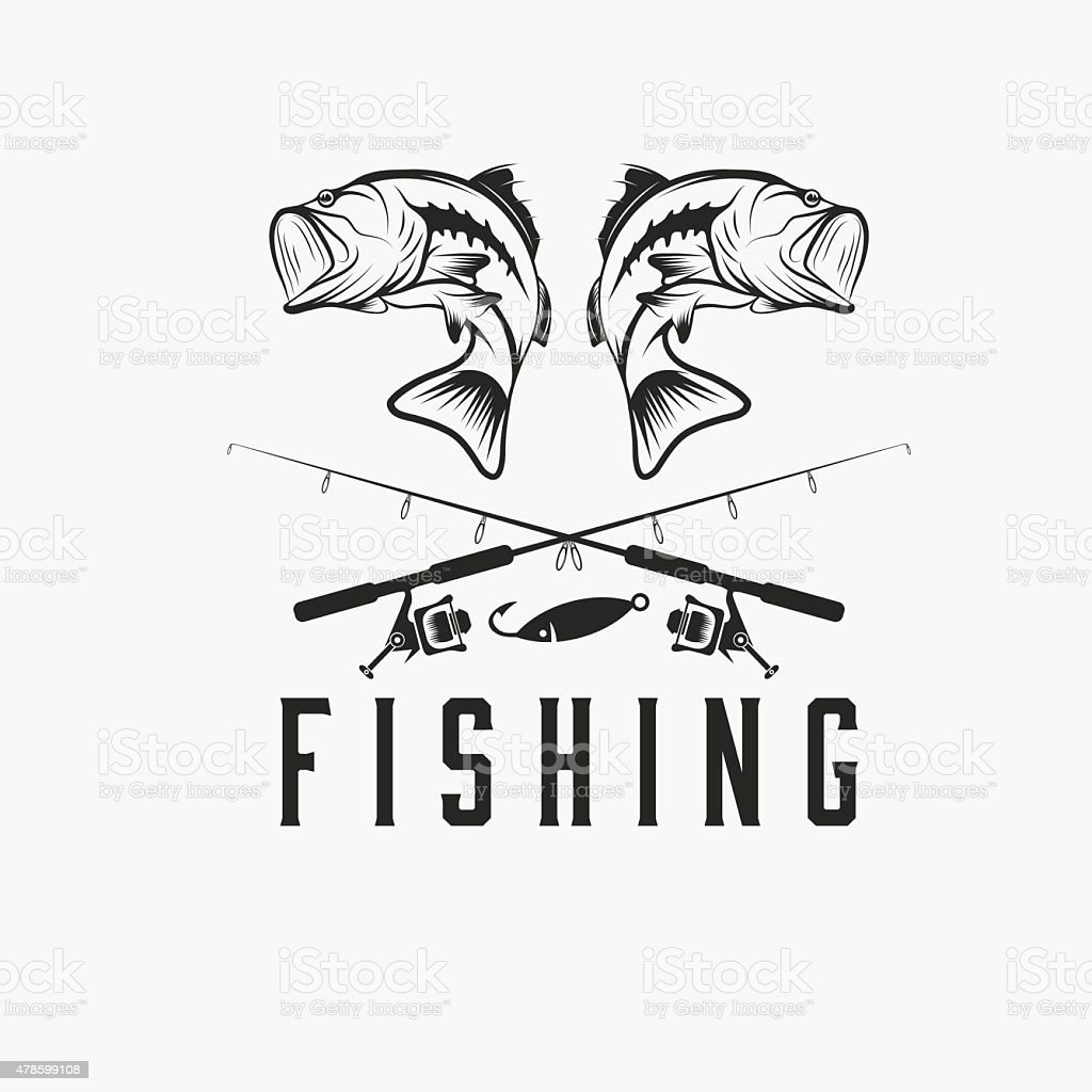 Винтаж векторный дизайн шаблона рыбалка векторная иллюстрация