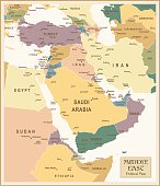 Vintage flat map of the Middle East