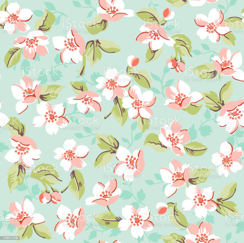 Vintage Floral And Cherry Background