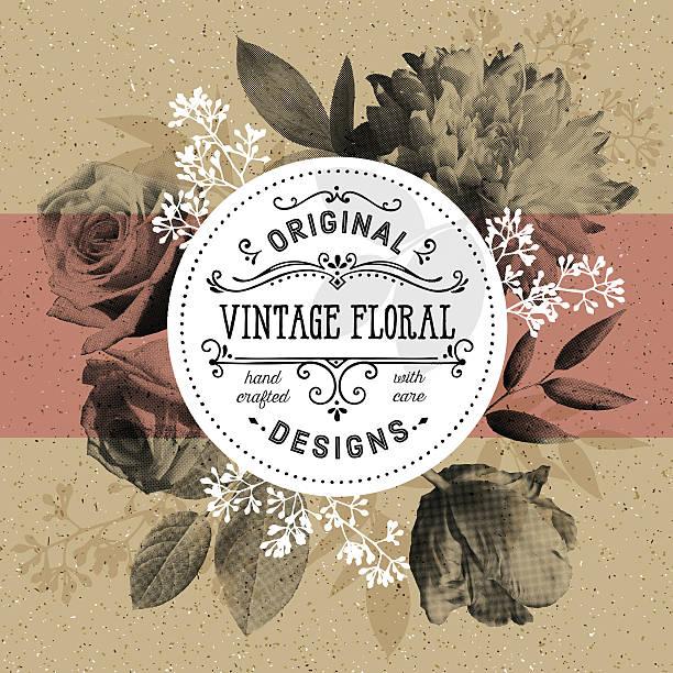 Vintage con flores y modernos círculo marco de fondo de papel de Artesanías - ilustración de arte vectorial