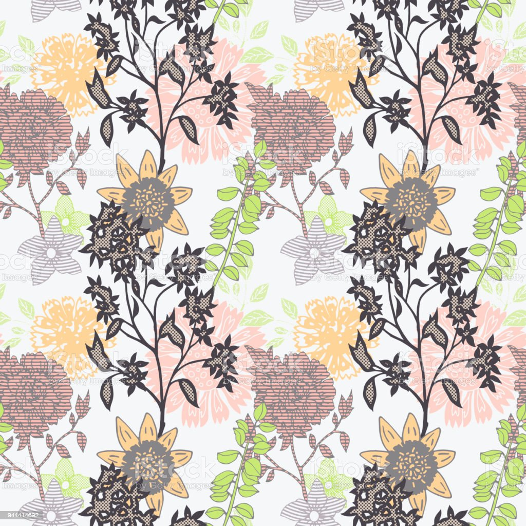 Vintage Floral Background Creative Flowers Fashion Seamless