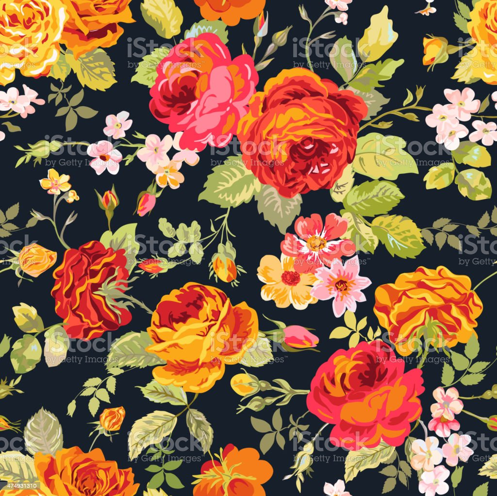 vintage floral background seamless pattern for design